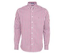 Casual Hemd 'o1. Heather OXF Gingham' weinrot / weiß