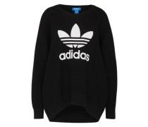 Woll-Pullover mit Print schwarz