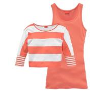 Shirt & Top (Set 2-tlg.) für Mädchen orange / weiß