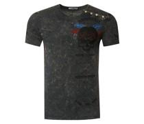 T-Shirt mit verwaschenem plakativem Print