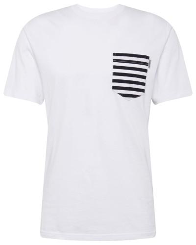 T-Shirt 'Contrast Pocket' navy / weiß