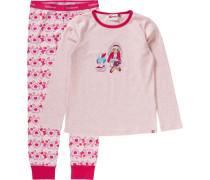 Schlafanzug 'friends' für Mädchen hellblau / pinkmeliert