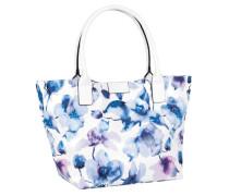 Schultertasche 'miri Flora' blau / weiß