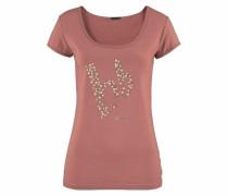 T-Shirt »Rundhaltsshirt mit Perlenlogo« pink