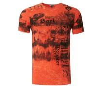 T-Shirt in Batik Optik orange