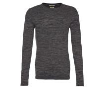 Pullover 'bob Stripe Crew Neck' schlammfarben / schwarz