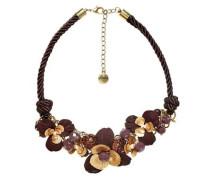 Kordel-Collier mit Blütenverzierung burgunder