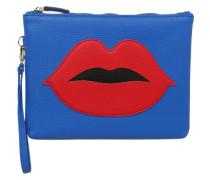 Kosmetiktasche 'Red Lips' blau / rot