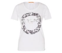 T-Shirt mit Print grau / weiß