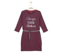 Gestreiftes Kleid mit Wording dunkelrot