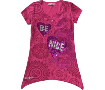 T-Shirt mit Pailletten für Mädchen pink