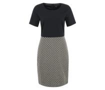 Kleid mit Kurzarm und abgesetztem Rockteil creme / marine