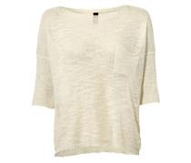Oversized-Pullover mit Pailletten-Besatz beige