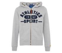 Kapuzensweatjacke 'athletics sweatjacket' navy / graumeliert