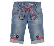 Trachtenbermuda mit Blumenstickerei blau