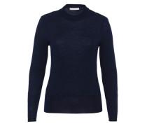 Wollpullover mit Stehkragen blau