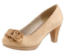 Trachten-Pumps mit Blumenapplikation beige