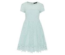 Kleid mit Lochstickerei türkis
