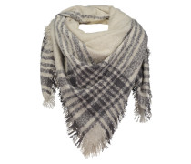 Schal mit feinen Fransen anthrazit / weiß