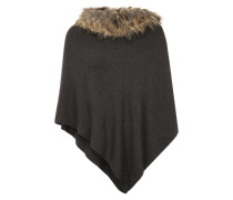 Poncho mit textilem Besatz in Felloptik grau / schwarz