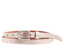 Ledergürtel mit Metallic-Effekt rosegold