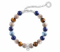 Charm-Armband 'Braun Blau X0228-953-7-L185v' blau / braun / mischfarben / silber