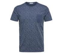 Baumwoll-T-Shirt saphir / weiß