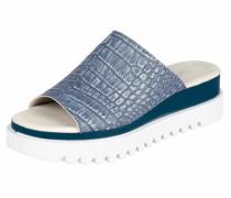 Pantolette mit Plateau-Sohle blau / weiß