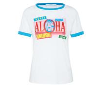 T-Shirt 'Aloha' mischfarben / weiß