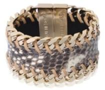 'leather gourmet' bracelet beige / gold