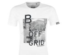 T-Shirt mit Print-Collage weiß