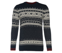 Strickpullover in Norweger-Muster navy / weiß
