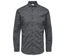 Slim-fit Langarmhemd dunkelgrau