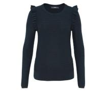 Rippstrick-Pullover mit Rüsche marine