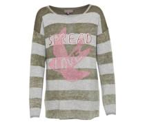 Strickpullover 'Birke' hellgrau / khaki / pink