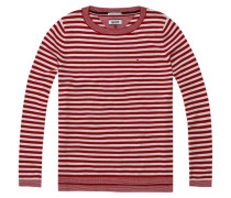Pullover 'thdw Basic Strp CN Sweater L/S 13' rot / weiß
