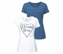 T-Shirt (Packung 2 tlg. 2er-Pack) blau / weiß