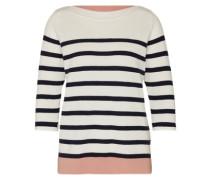 Pullover '3col striped' nachtblau / rosé / offwhite