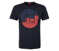 T-Shirt mit Print und Wording nachtblau / rot