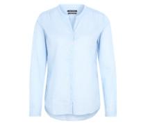 Bluse mit gerundetem V-Neck hellblau / mischfarben