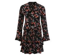 Kleid mit Blumenmuster rot / schwarz