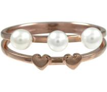 Fingerring »Herz Pearl Love« rosegold / weiß