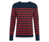 Langarmshirt 'classic long sleeve breton with engineered stripe' dunkelblau / rot