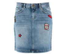 Jeansrock mit Patches blue denim