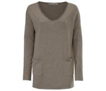 V-Pullover mit Kaschmir taupe