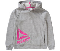 Sweatshirt mit Kapuze für Mädchen graumeliert / pink