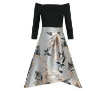 Kleid 'chloe' silbergrau / schwarz