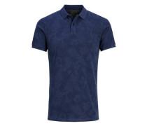 Blumiges Poloshirt dunkelblau