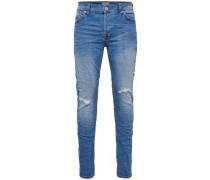 'Slim Fit Jeans Medium-Blue Schaft-Knie-Cut' blau