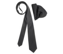Krawatte (Set mit Einstecktuch) schwarz